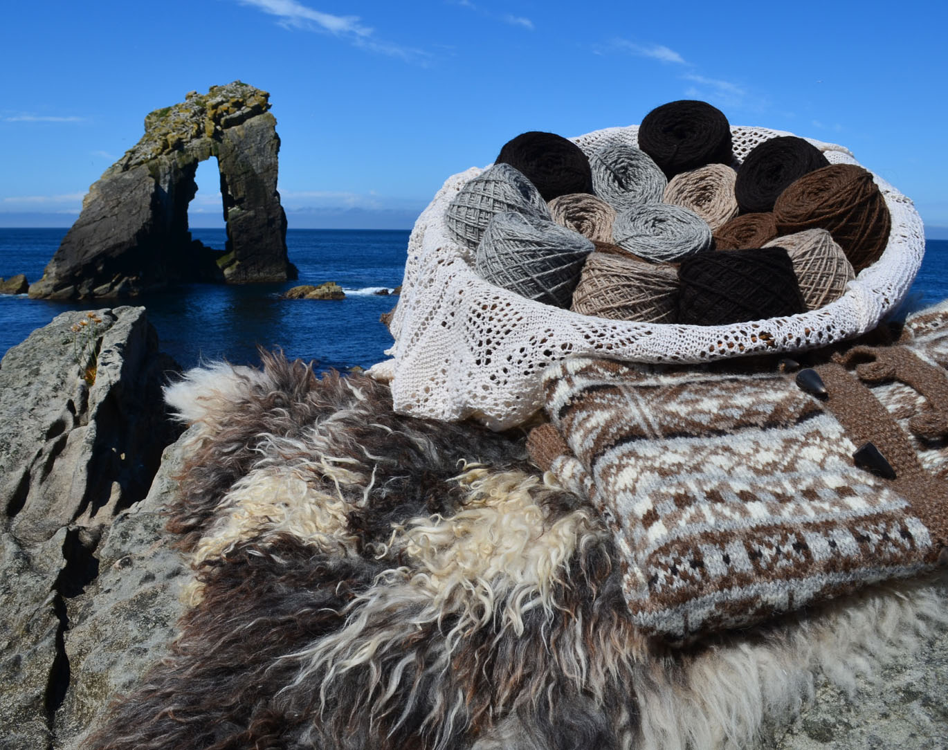 Foula wool display